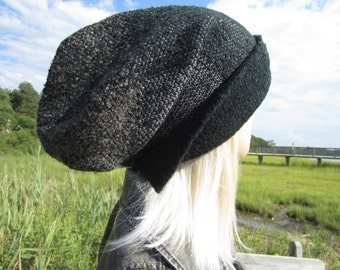BOHO HOBO Oversized Tam Grunge Clothing Patches Slouch Beanie Thick Warm Winter Hat Black / Charcoal Gray  A1635