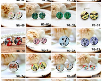 20% off -All Design Unique 3D Embossed 16mm Round Handmade Wood Cut Cabochon to make Rings Earrings Bobby pin Bracelets-(HPP-WG) Part 2