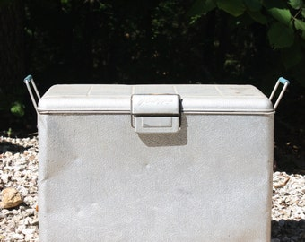 Vintage Aluminum Cooler Ice Chest Beer Chest J.C. Higgins Sears Picnic Beach Camping Tailgating Boating RV Travel Trailer Lodge Photo Prop