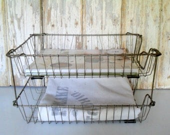 Vintage Stacking Wire File Baskets, Vintage Wire Desk Tray, In and Out Basket, In/Out Office Basket