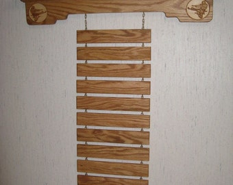 Solid Oak with Second Wood WS Style Martial Arts Rank Belt Display Rack with Shelf for Trophies, holds 12 belts but can add or subtract