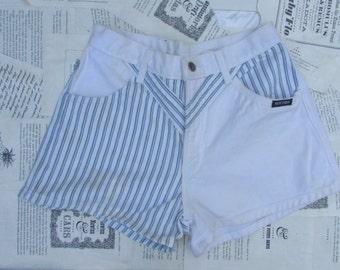 half n half white pinstripe high waist shorts
