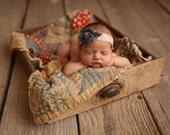 Newborn Tieback, Baby Tieback, Newborn Photo Prop, Teal Flower Tieback, Organic Tieback, Newborn Headband, Tie Back, Floral Crown, Baby Halo