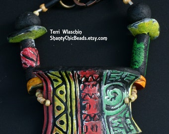 Polymer Clay Bracelet -  Tribal, Rustic Chalk greens, coral red, and lemon lime