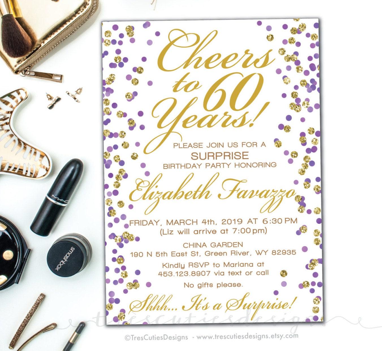 Surprise Birthday Invitation - Cheers to 60 years - Gold Glitter ...