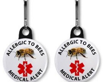 ALLERGIC TO BEES 2-Pack of Zipper Pull Charms (Choose size and color of backing)