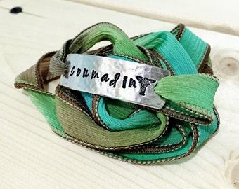 Medical Alert Bracelet, Medical Alert Jewelry, Wrap Bracelet, Silk Wrap Bracelet, Custom Bracelet,Personalized Jewelry,Personalized Bracelet