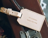 Personalized Leather Luggage Tag, Natural Nude Color Double Sided monogrammed, Hand Stitched by Harlex