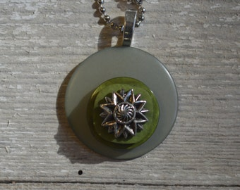 Evergreen Forest Fancy Nancy Button Necklace - Proceeds Benefit Cancer Research