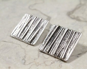 Square Clip On Earrings, Pewter Square Earrings with Organic Texture