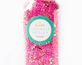Party Dress Twinkle Sprinkle Medley, Holiday Sprinkles, Pink and Gold, Sprinkle Mix, Pink Sprinkles, Gold Beads -- Med (8 oz)