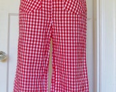 1970s Vintage Wide-Leg High Waisted Gingham Pants