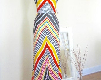 1970s Vintage French Chevron Maxi Dress / Halter Dress / Goddess / Summer / Medium