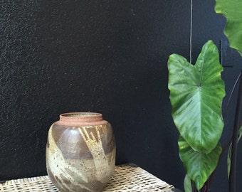 round brown stoneware studio pottery pot // flower vase