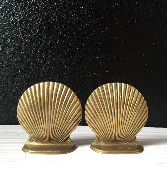 pair of heavy vintage brass sea shell bookends / set / beach house decor