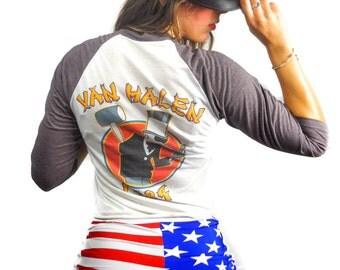 Vintage Van Halen Tee 1984 Tour 80s Tee 3/4 Sleeve Baseball Tee Soft thin Rocker David Lee Roth Vintage Tee Vintage shirt Concert Shirt Rare