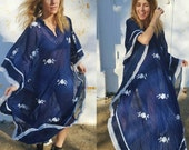 embroidered gauzy hippie gypsy woman maxi poncho bohemian resort wear one size fits most textile ethnic long caftan kaftan muu muu gown