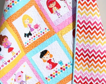 SALE LAST ONE Baby Quilt Girlfriends Patchwork Blanket Toddler Bed Blanket Girl Occupations Artist Sewer Chef Rock Star Teacher Veterinarian