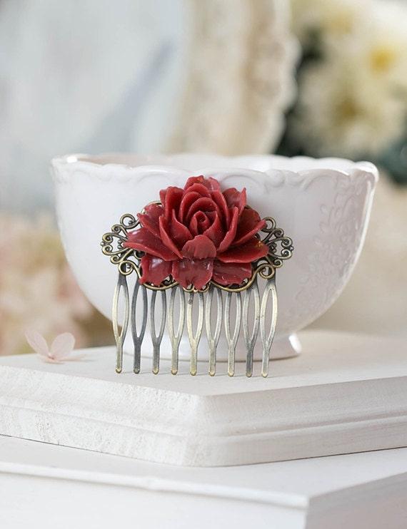 Burgundy Hair Comb Maroon Deep Red Dark Red Marsala Wedding Bridal Hair Comb Rose Flower Floral Hair Accessory Bridal Hair Comb