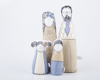 Family Portrait - Parents with children dolls -Dressed in shades of Blue Beige Ivory, geometric, plaid & Floral timo handmade fabric doll