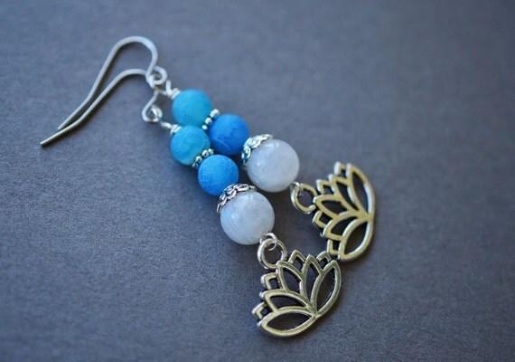 Moonstone Earrings, Surgical Steel Earrings, Blue Frosted Agate Earrings, Lotus Earrings, Moonstone