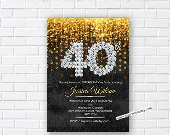 Wall texture, Elegant birthday invitation, glitter gold birthday any age 13th 18th 40th 50th 60th 70th 80th 90th  invitation - card 299