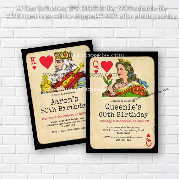 Poker Playing Card Birthday Invitation Vintage Poker King OR