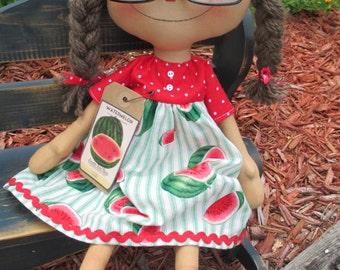 Watermelon loving Raggedy Ann
