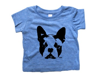 SALE Boston Terrier Baby T-shirt, Tri Blend Baby Shirt, New Mom, Personalized Baby Clothes, Gender Neutral Baby Clothes, My Sibling Has Paws