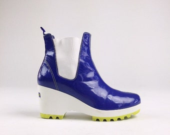 90's Purple Rain Platform Wedge Funky PVC Shiny Ankle With Neon Green Soles Boots // 7