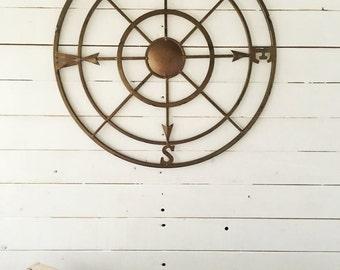 "21 "" Metal Compass-Iron Wall Decor-Entryway Decor-Beach Wall Art-Modern Home, Bronze Metal , Gift For Boyfriend , Rustic Home Decor , Summer"