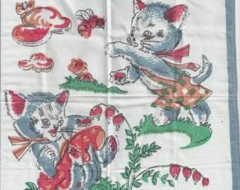 Children's Kitten Vintage Handkerchief, 1950s