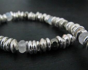Sterling Silver Bracelet | Moonstone Bracelet | Pyrite Bracelet | Multi-Gemstone Bracelet | Fine Silver Jewelry | Hill Tribe Jewelry