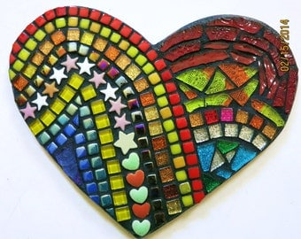 """CUSTOM MOSAIC Heart with Multicolored Glass, Gems, Stars, Glitter Tiles, Glass Beads and Hand Painted Tiles -  9"""" x 7"""" - OOAK  /  Unique!!"""