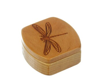 "Dragonfly Wooden Box, Solid Cherry, Pattern MS15 Dragonfly, 1-3/4""L x 1-7/8""W x 7/8""D, Paul Szewc, Masterpiece Laser"