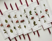 Rose Bookmarks, laminated pressed flower bookmarks, rose and gardener lovers bookmarks with gold heart and wine ribbon, stocking stuffers