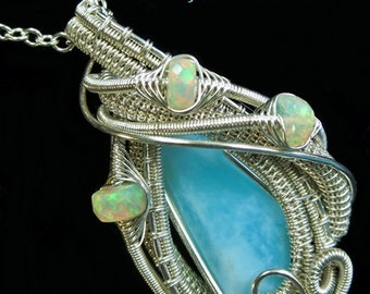 Peruvian Blue Opal Pendant in Sterling Silver with Ethiopian Welo Opals - PBOSS9