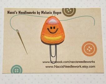 Happy Candy Corn Paper Clip- Orange Felt Appliqué Candy Corn Bookmark- Halloween Decorative Planner