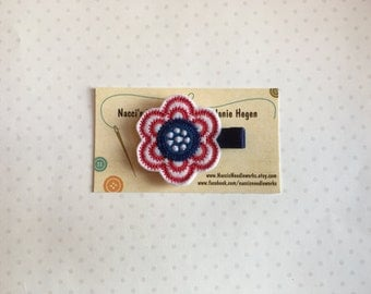Felt Hair Clip- Red, White and Blue Flower Hair Clip
