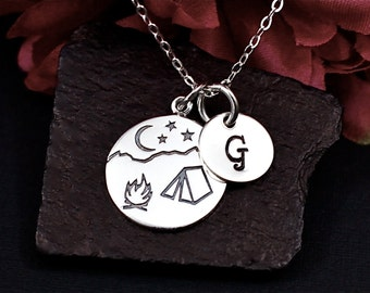 Personalized Campfire Necklace, Sterling Silver, Camping Necklace, Glamping Necklace, Outdoors Necklace, Under the Stars