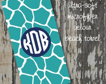 monogrammed GIRAFFE beach towel - huge 30x60 ultra-soft microfiber velour