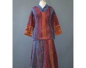 Vintage 70s Rainbow Space Dye Sweater Dress - Young Edwardian 2 Piece 1970s Knit Dress - Bohemian Boho Hippie Sweater Skirt Dress Set XS/S/M