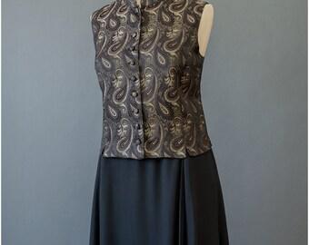 Brocade Vest - Paisley Vest - Asian Style Mandarin Top - 90s Vest - Gold Brown Black Vest - Sleeveless Jacquard Top - 1990s Vest (M)