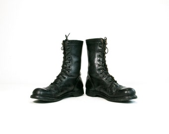Vintage 1960's JUMP Boots/ Combat Boots / Military Boots Tall Black Leather Goth Grunge Men's Size 14 US Made in USA Americana