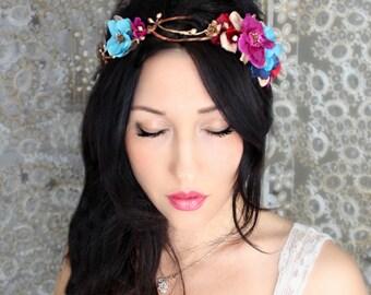 Boho Deep & Gold flower crown, wedding accessory, bridal headpiece, wedding flower crown, bohemian, wedding headband, bridal hair