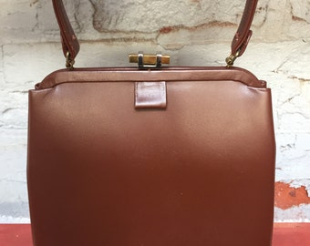 Brown Leather Handbag / Purse 1950's with Leather Lining