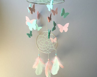 Baby Mobile, Dream Catcher Mobile, Butterfly Mobile, Mint and Pink Mobile, Boho Mobile, Boho Nursery Mobile