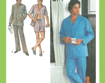 Simplicity 9125 Men's 70s Short & Long Pajamas Sewing Pattern Chest 42 to 44