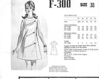 Mail Order Fashion Pattern F-300 Misses' 70s Mini Day Shift Dress Sewing Pattern Size 18 Bust 40