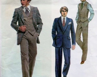 Vogue Paris Original 2112 Givenchy Men 3 Piece Suit Sewing Pattern Chest 46 Jacket Vest Pants